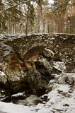 Stone Bridge - The bridge over the Falls of Bruar in Perthshire. A view of the bridge over the falls of Bruar in rural Perthshire during winter Stock Image