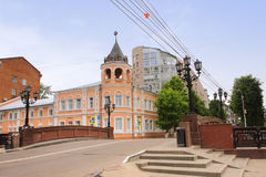 The Stone bridge and the building of the former Alexandrinsky orphanage in Voronezh city, Russia Stock Photos