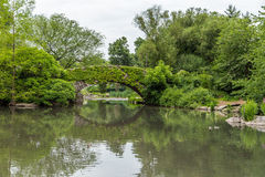 Stone bridge in Central park, New York City in summer. Royalty Free Stock Photography