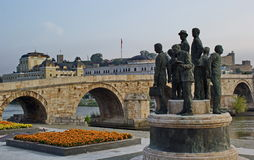 Stone bridge, city center of Skopje, Macedonia Stock Photography