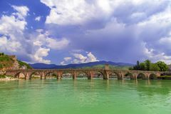 Stone Bridge on the Drina river in Visegrad. Work Mehmed Pasha Sokolovic, constructed between 1571 and 1577 by architect Mimar Sinan, Bosnia and Herzegovina stock image