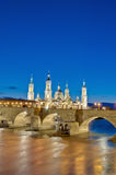 Stone Bridge and Ebro River at Zaragoza, Spain Royalty Free Stock Image
