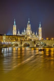 Stone Bridge and Ebro River at Zaragoza, Spain Stock Photography