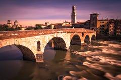 Stone Bridge, the famous old bridge in Verona. Royalty Free Stock Photo