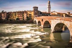 Stone Bridge, the famous old bridge in Verona. Stock Photo