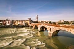 Stone Bridge, the famous old bridge in Verona. Royalty Free Stock Photography