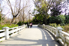 A stone bridge of Fuxing Park Royalty Free Stock Photos