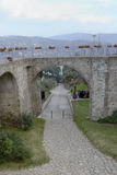 Stone bridge historic center of Agropoli village Stock Image