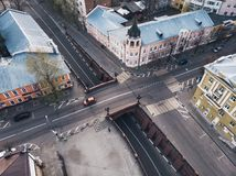 Stone Bridge in historical center of Voronezh. Old buildings and road intersection in European city downtown, aerial view stock image