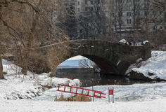 Stone bridge and ice rescue ladder in Central Park Stock Image