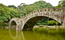 Stone bridge in Japanese garden Royalty Free Stock Photos