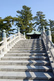 Stone bridge of japanese temples. Against a blue sky Stock Photos