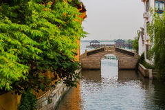 Stone Bridge at Jinxi  ancient Town. In Jiangsu province, China Royalty Free Stock Images