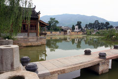 A stone bridge leading to an ancient village in Anhui province, Royalty Free Stock Photo