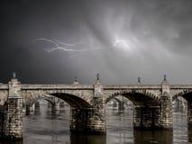 Stone Bridge and Lightning Storm Stock Photo
