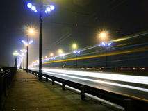 Stone Bridge lights in fog ,Riga. Bridge lights in fog in Riga, Latvia Stock Photo