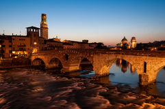 Stone bridge. Long exposure photos of Verona, taken from the street Regaste Redeemer along the river Adige, in the scene the Adige River, the Stone Bridge, the Stock Image