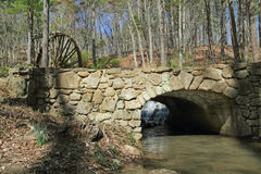Stone Bridge and Mill Waterwheel - Georgia Stock Photography