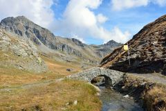 Stone bridge near Lake Palasina, Aosta Valley, Italy Royalty Free Stock Images
