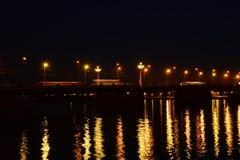 Stone bridge at night Royalty Free Stock Photography
