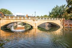 Stone bridge in Nurnberg, Germany. Landscape view the river and the stone bridge in Nurnberg, Germany stock photography