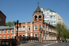 Stone bridge and old red building in Voronezh Stock Images