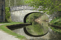 Stone bridge over canal with duck and reflections Royalty Free Stock Image