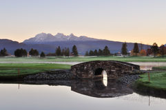 Stone bridge over creek on golf course Royalty Free Stock Image