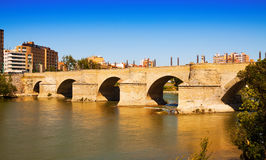 Stone bridge over Ebro Royalty Free Stock Images