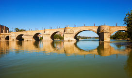 Stone Bridge over Ebro river Stock Photography
