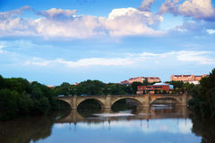 Stone bridge over Ebro  in summer evening. Logrono Stock Image