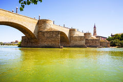 Stone Bridge over Ebro  in Zaragoza Royalty Free Stock Photo