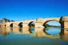 Stone Bridge over Ebro  in Zaragoza Stock Photos