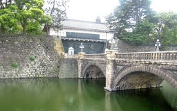 Stone bridge over green lake in quiet garden in Tokyo Royalty Free Stock Photo