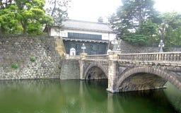 Stone bridge over green lake in quiet garden in Tokyo Royalty Free Stock Photo