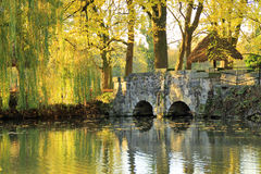 Stone bridge over pond in autumn mood Stock Images