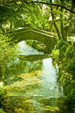 Stone bridge over river. Scenic view of old stone bridge spanning river in countryside Royalty Free Stock Photo