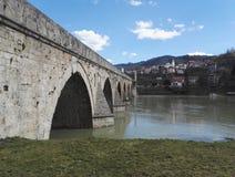 Stone bridge over river Drina in Visegrad, Bosnia and Herzegovina. Stone bridge over river Drina in Visegrad, The Mehmed Pasa Sokolovic bridge, Bosnia and stock image