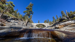 Stone bridge over a river in the mountains Royalty Free Stock Photography