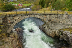 Stone bridge over the river in Norway Royalty Free Stock Image