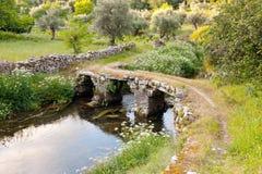 Stone bridge over small river Stock Photos