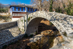 Stone bridge over small river in Moushteni near Kavala,  Greece Royalty Free Stock Photography