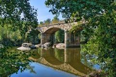 Stone bridge over Tamega river in Boticas stock photography