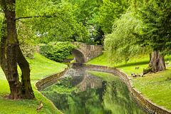 Stone Bridge in Parc de la Boverie in Liege. Wallonia, Belgium Royalty Free Stock Images