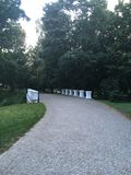 Stone bridge in park stock images