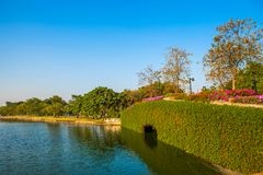 Stone Bridge in a park with lake on blue sky.  Royalty Free Stock Images