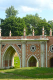 The Stone Bridge  Park Tsaritsyno  Gothic Revival  Architect Bazhenov  Moscow  Summer day Stock Image
