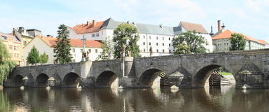 Stone Bridge in Pisek. Stone Bridge over river Otava in Pisek (Czech Republic Royalty Free Stock Photos