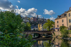 Stone bridge reflecting in the Alzette - 2. Stone bridge reflecting in the Alzette river in the city of Luxembourg - 2 Royalty Free Stock Photo