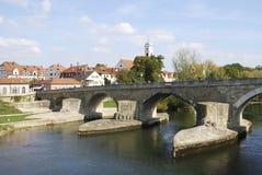 Stone Bridge of Regensburg Stock Photos